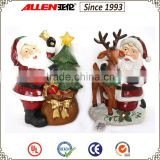 "12.6"" led Santa figurine with gift sack and reindeer, polyresin led Santa statue"