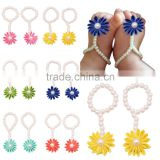 Baby Girls' Pearl Chiffon Barefoot Toddler Foot Flower Beach Foot Chain/Flower Perfect For Baby Photo Props WH-1766