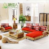 Modern Interior Wicker Handicraft Hand Woven Living Room Sofa Couch Set Natural Rattan Indoor Furniture                                                                         Quality Choice