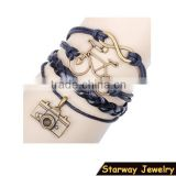 >>New arrival SW16479 infinity Camera bike leather charm bracelet/