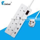 British style 4 way 13a universal multi plug sockets with usb output 5v 2.4a 1a surge protection