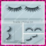 Individual wholesale hand made double layer synthetic false eyelashes