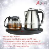 1500W 1.5L Electric Tea Pot Set Stainless steel kettle,glass pot,PP tray Food Grade Rapid Heating Kettle AEK-307