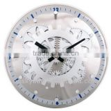 Decorative moving-Gear Wall Clock with Glass Cover