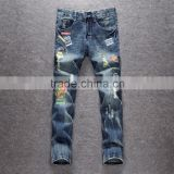men gender high quality ripped patch badges embroiered pattern jeans trousers long pants