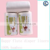 happy flute 100% Biodegradable diaper Liner soft 100%bamboo Nappy Liners Flushable Diaper Liner