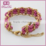 china wholesale Gold chunky chain Silk wrap Bracelet