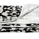 RTHKQC-2 Manufacturer of Baby Quilt Black and white Reversible Ikat Kantha Quilted Bedspread Jaipur