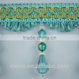 big crystal beads tassel fringe for curtain trims,fashion fabric beaded tassel fringe lace