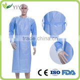 Disposable PP nonwoven,SMS blue Surgical gow,isolation gown patient gown with elastic and knit cuff