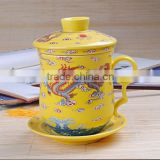 yellow marigold porcelain cup tea mug spoon