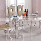 Factory high quality 201 stainless steel furniture modern dining room table set