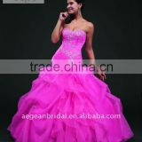 Top hot pink strapless sweetheart neckline organza ball gown floor-length quinceanera dress with beaded bodice XZ-pd1217