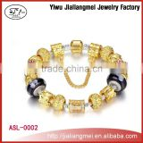 Customizable 925 China Yiwu manufacturer Glass Beads Handmade Bracelets / European Fashion Alloy Bracelet Bangle