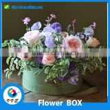 Custom Waterproof Paper Flower Box With Lid Round Bouquet flower Gift Box