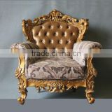 Antique reproduction furniture gold leaf finish fabric sofa