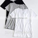 printed 100% cotton white / black / grey womens rolled sleeve blank t-shirt china wholesale