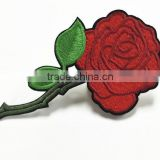 factory price Iron on embroidery patch red flower embroidery patch for cloth