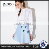 MGOO 2016 New Design Fashion Skirts For Women Blue Block Print A Line Skirt For Dance Pattern 15144B177