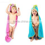 Kids pink owl or blue monster baby hooded towel and wholesale children poncho hooded towel