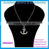 Sunshine high quality silver anchor rhinestone pendant necklace