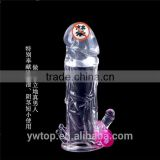 Vibrating condom Male sex long time Crystal Penis Enlargement Sleeve