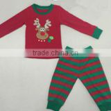 Wholesale girls and boys outfits for christmas striped pants reindeer pattern pajamas children boutique clothing set