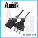 Sell European 2-Pole Power Cord With Earth Italy lamp holder 3-pin plug pin used wire and cable machine power cable