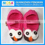 Handmade Baby Girl Booties Owl Baby Shoes Hot Pink Brown For newborn