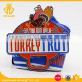 Customized Thanksgiving Turkey Run Walk Medal with Bottle Opener