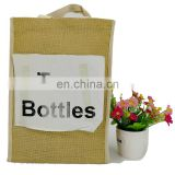 Jute material and gift bag use double bottle jute bag with canvas handles