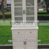 antique white wooden bookcase/filling cabinet set 2 drawer 4 door