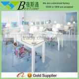 Glass top pure white nail bar tables, nail art table