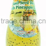 Basil Seed Drink with Pineapple Juice in Glass Bottle