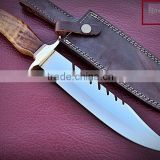 Bowie Hunting custom handmade stainless steel 15 inch Hunting knife Solid walnut wood Handle and Brass Thumb Guard / Clip