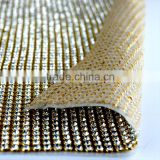 Aluminium Setting 120*45cm Hematite Aurum Diamond Crystal Mesh Sheets, Transfer Strass Trimming Mesh for Decoration
