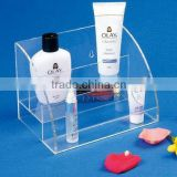 Popular countertop multi-tier perspex/acrylic skin care products display stand retai cosmetic display rack