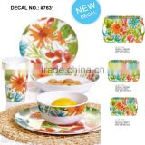flower custom designed printed color cup bowl plate jug fastion eco-friendly bamboo firbre kitchenware, dishes dinner set