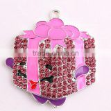 AAA Quality fashion cheap silver alloy zinc crystal large cartoon fruit rhinestone pendants for kids jewelry making!