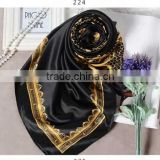 oem for women new fashion summer 100*100cm digital print imitated silk satin square scarf,polyester satin black hijab wholesale