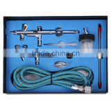 Professional Dual Action Gravity Suction Feed Airbrush Kit with Two Airbrushes Hose for Body Paint AS-34