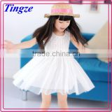 Wholesale fancy elegent pure white color lace princess tutu dresses kids dresses for baby girls