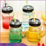 Creative Juice Drinking Beverage glass Mason Jar with Lid                                                                         Quality Choice