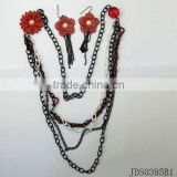 Jet flower w/ pearl chain jewelry set