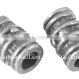 Tibetan Style Beads, Lead Free and Nickel Free, Tube, Antique Silver, 9x6mm, hole: 3mm(TIBEB-A0420-AS-FF)