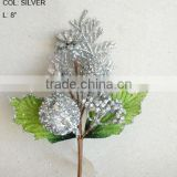 "Fresh Artificial Christmas Silver Flower Pick 8"" Artificial Fruit Flower With Berries And Leaf"