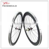 High performance carbon alloy wheelset 50mm front 60mm rear, 700C mixed carbon wheels with Novate A291SB/F482SB black hub