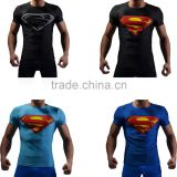 China Manufacture Superhero T-shirt Avengers Marvel Super Heroes Superman Mens 3d Printed Compression T-shirts