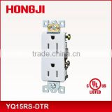 UL approval 15AMP push-in and side wired decorator duplex receptacle with slot tamper resistant self-grounding residential grade