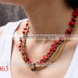 Hot new products for 2015 wholesale jewlery coral necklace and copper beads necklace